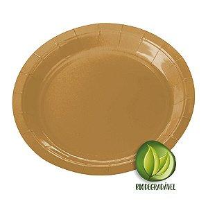 Prato de Papel Biodegradável Dourado 18cm - 10 unidades - Silverplastic - Rizzo Embalagens
