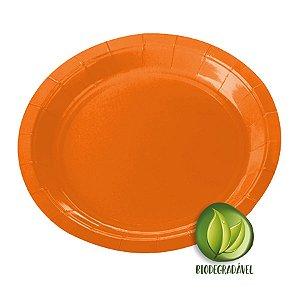 Prato de Papel Biodegradável Laranja 18cm - 10 unidades - Silverplastic - Rizzo Embalagens