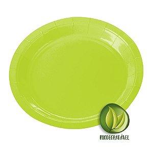 Prato de Papel Biodegradável Verde Limão 18cm - 10 unidades - Silverplastic - Rizzo Embalagens
