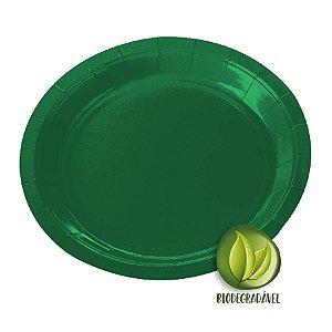 Prato de Papel Biodegradável Verde 18cm - 10 unidades - Silverplastic - Rizzo Embalagens