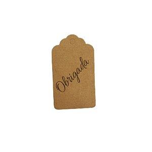 Tag Decorativa Kraft com Furo - OBRIGADA - 10 unidades - Rizzo Embalagens