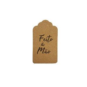 Tag Decorativa Kraft com Furo - Feito á Mão - 10 unidades - Rizzo Embalagens