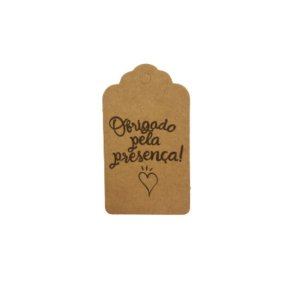 Tag Decorativa Kraft com Furo - Obrigado pela Presença - 10 unidades - Rizzo Embalagens