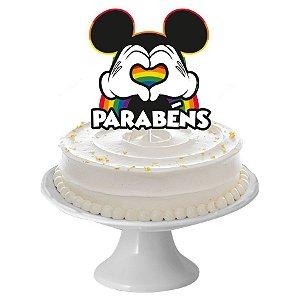 Decoração Topo de Bolo Festa Mickey Arco-Íris - 01 unidades - Regina - Rizzo Embalagens