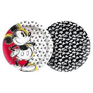 Prato de Papel Festa Mickey Fãs - 12 unidades - Regina - Rizzo Embalagens