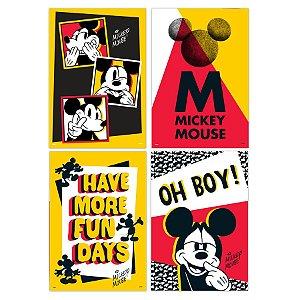 Cartaz Decorativo Festa Mickey Fãs - 04 unidades - Regina - Rizzo Embalagens