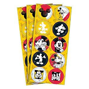 Adesivo Redondo Decorativo Festa Mickey Fãs - 24 unidades - Regina - Rizzo Embalagens