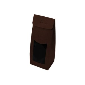 Caixa Sacolinha com Visor G (12cm x 23m x 6cm) Marrom 10 unidades Assk - Rizzo Embalagens