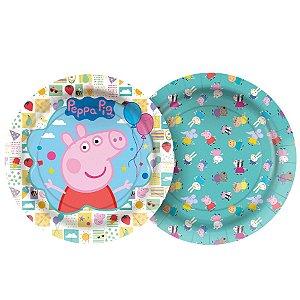 Prato Papel Redondo 18cm - Peppa Pig Clássica - 12 unidades - Regina - Rizzo Embalagens