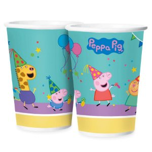 Copo de Papel Festa Peppa Pig Clássica 180ml - 12 unidades - Regina - Rizzo Embalagens