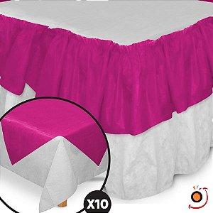 Kit Festa Toalhas TNT Branco/Pink - 12 peças - Best Fest - Rizzo Embalagens