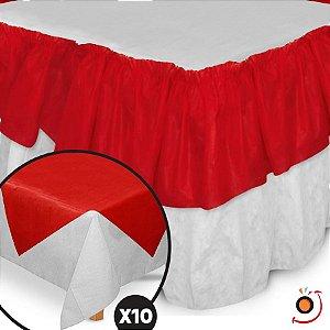 Kit Festa Toalhas TNT Branco/Vermelho - 12 peças - Best Fest - Rizzo Embalagens