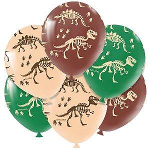 """Balão de Festa Redondo Profissional Látex Decorado 11"""" 28cm - Dinossauro - 25 Unidades - Art-Latex - Rizzo Embalagens"""