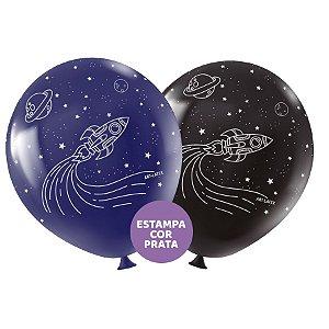 """Balão de Festa Redondo Profissional Látex Decorado 11"""" 28cm - Astronauta - 25 Unidades - Art-Latex - Rizzo Embalagens"""