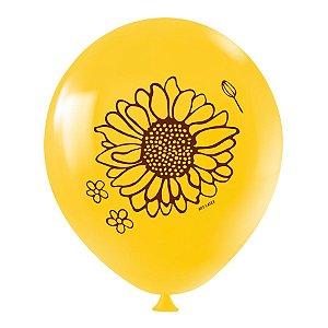 """Balão de Festa Redondo Profissional Látex Decorado 11"""" 28cm - Girassol - 25 Unidades - Art-Latex - Rizzo Balões"""