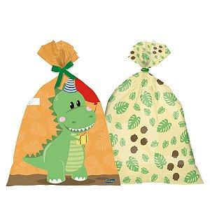 Sacola Plástica Festa Dino Baby - 8 Unidades - Festcolor - Rizzo Embalagens