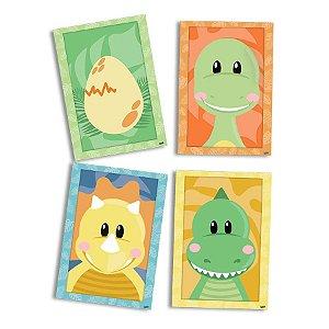 Quadro Decorativos Festa Dino Baby - 4 Unidades - Festcolor - Rizzo Embalagens