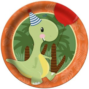 Prato de Papel  Festa Dino Baby - 8 Unidades - Festcolor - Rizzo Embalagens