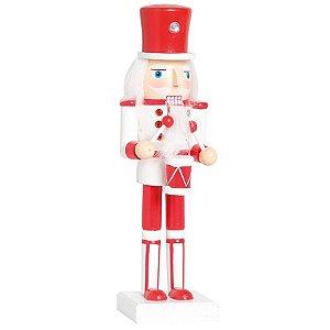 Soldado de Chumbo de Madeira Vermelho e Branco com Tambor 38cm - 01 unidade - Cromus Natal - Rizzo Embalagens
