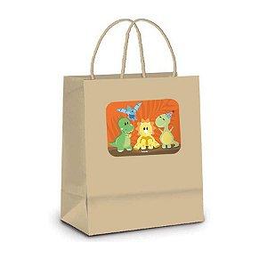Sacola de Papel Kraft P Festa Dino Baby - 10 unidades - Rizzo Embalagens