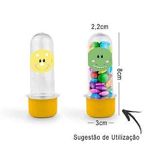 Mini Tubete Lembrancinha Dino Baby 8cm 20 unidades - Amarelo - Rizzo Embalagens