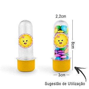 Mini Tubete Lembrancinha Festa Raio de Sol 8cm 20 unidades - Amarelo - Rizzo Embalagens