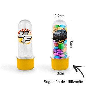 Mini Tubete Lembrancinha Velozes e Furiosos 8cm 20 unidades - Amarelo - Rizzo Embalagens