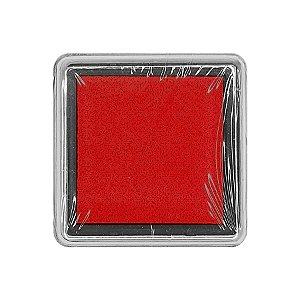 Almofada para Carimbo em Plástico e Espuma - Carimbeira Vermelho 2,5x2,5cm - 01 Unidade - Rizzo Embalagens