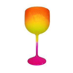 Taça Gin Fluor com 550ml Degradê Pink, Amarelo e Laranja - Rizzo Embalagens