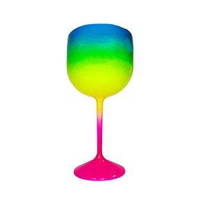 Taça Gin Fluor com 550ml Degradê Pink, Verde e Azul - Rizzo Embalagens