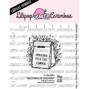 Carimbo Mini Pacotinho de Gratidao  Cod 31000091 - 01 Unidade - Lilipop Carimbos - Rizzo Embalagens