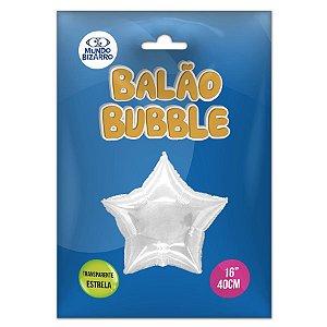 """Balão de Festa Bubble Estrela Transparente 16"""" 40cm - 01 Unidade - Mundo Bizarro - Rizzo Balões"""
