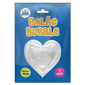 """Balão de Festa Bubble Coração Transparente 16"""" 40cm - 01 Unidade - Mundo Bizarro - Rizzo Balões"""