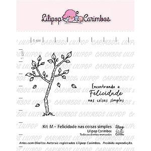 Kit de Carimbos M - Felicidade nas Coisas Simples - Cod 31000416 - 01 Unidade - Lilipop Carimbos - Rizzo Embalagens