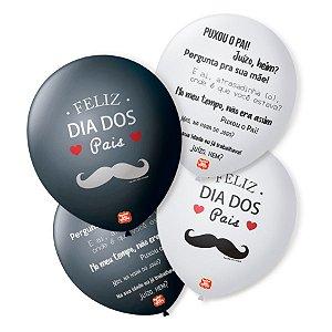 """Balão de Festa Decorado Dia dos Pais - Sortido 9"""" 23cm - 25 Unidades - São Roque - Rizzo Embalagens"""