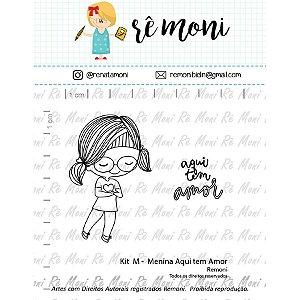 Kit de Carimbos M - Menina Aqui tem Amor - Cod 41000077 - 01 Unidade - Lilipop Carimbos - Rizzo Embalagens