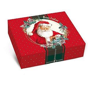 Caixa para Presente Tampa e Fundo - Boas Festas - Cromus - 10 Unidades - Rizzo Embalagens