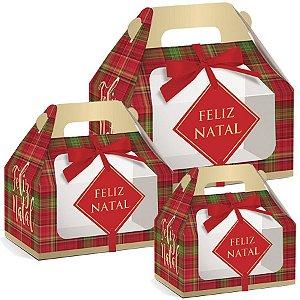 Caixa Maleta Kids com Visor Xadrez - Feliz Natal -10 unidades -Cromus - Rizzo