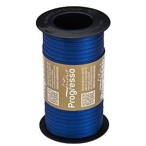 Fita de Cetim Carretel T900/000 4mm - 100m Cor 276 Azul Pavão - 01 unidade - Progresso - Rizzo Embalagens