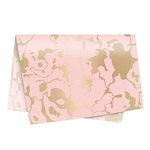 Papel de Seda Mármore Rose/Ouro - 49x69cm -10 folhas - Rizzo Embalagens
