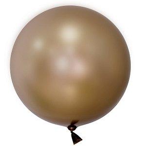 """Balão de Festa Bubble Cromado Ouro 24"""" 60cm - 01 Unidade - Mundo Bizarro - Rizzo"""