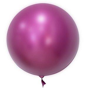 """Balão de Festa Bubble Cromado Pink 24"""" 60cm - 01 Unidade - Mundo Bizarro - Rizzo"""