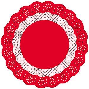 Fundo Rendadinho Redondo Vermelho - 100 unidades - Cromus - Rizzo