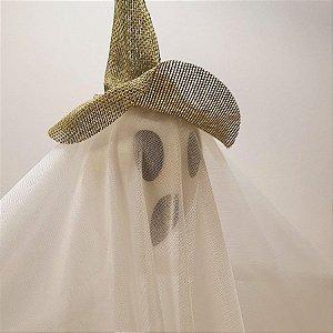 Fantasma em Tecido com Chapéu Halloween - 1 Unidade - Rizzo Embalagens