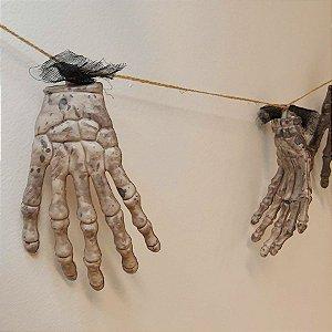 Enfeite Mão de Caveira Marrom Halloween - 1 Unidade - Rizzo Embalagens