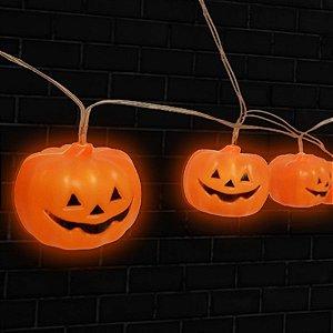 Cordão Led Decorativo de Abobora de Plástico Halloween - 1 Unidade - Rizzo Embalagens