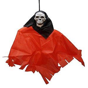 Boneco em Tecido para Pendurar Halloween - Caveira Preta - 1 Unidade - Rizzo