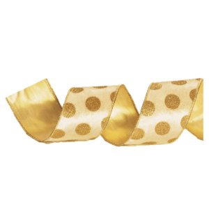 Fita Aramada Marfim com Bolas Douradas 6,3cm x 9,14m - 01 unidade - Cromus Natal - Rizzo Embalagens
