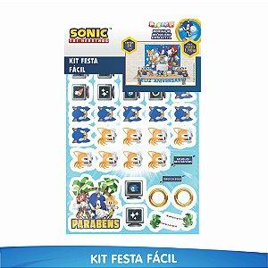 Kit Festa Fácil Sonic - 39 Itens - 01 Unidade - Piffer - Rizzo Embalagens