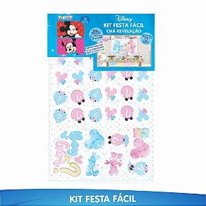 Kit Festa Fácil Chá Revelação Mickey e Minnie - 39 Itens - 01 Unidade - Piffer - Rizzo Embalagens